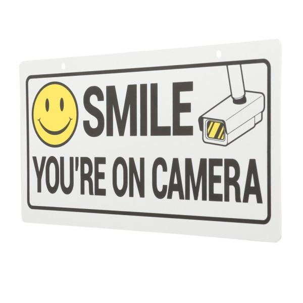 5 in. x 10 in. Smile-Security Camera Sign