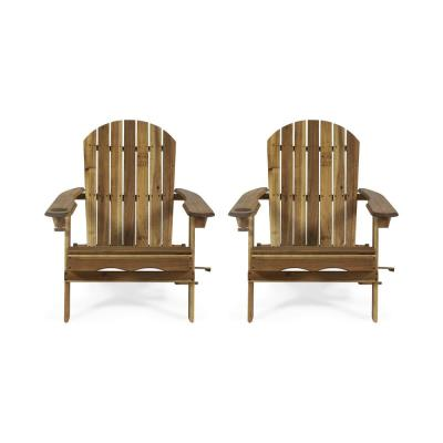Lissette Natural Foldable Wood Adirondack Chair (2-Pack)