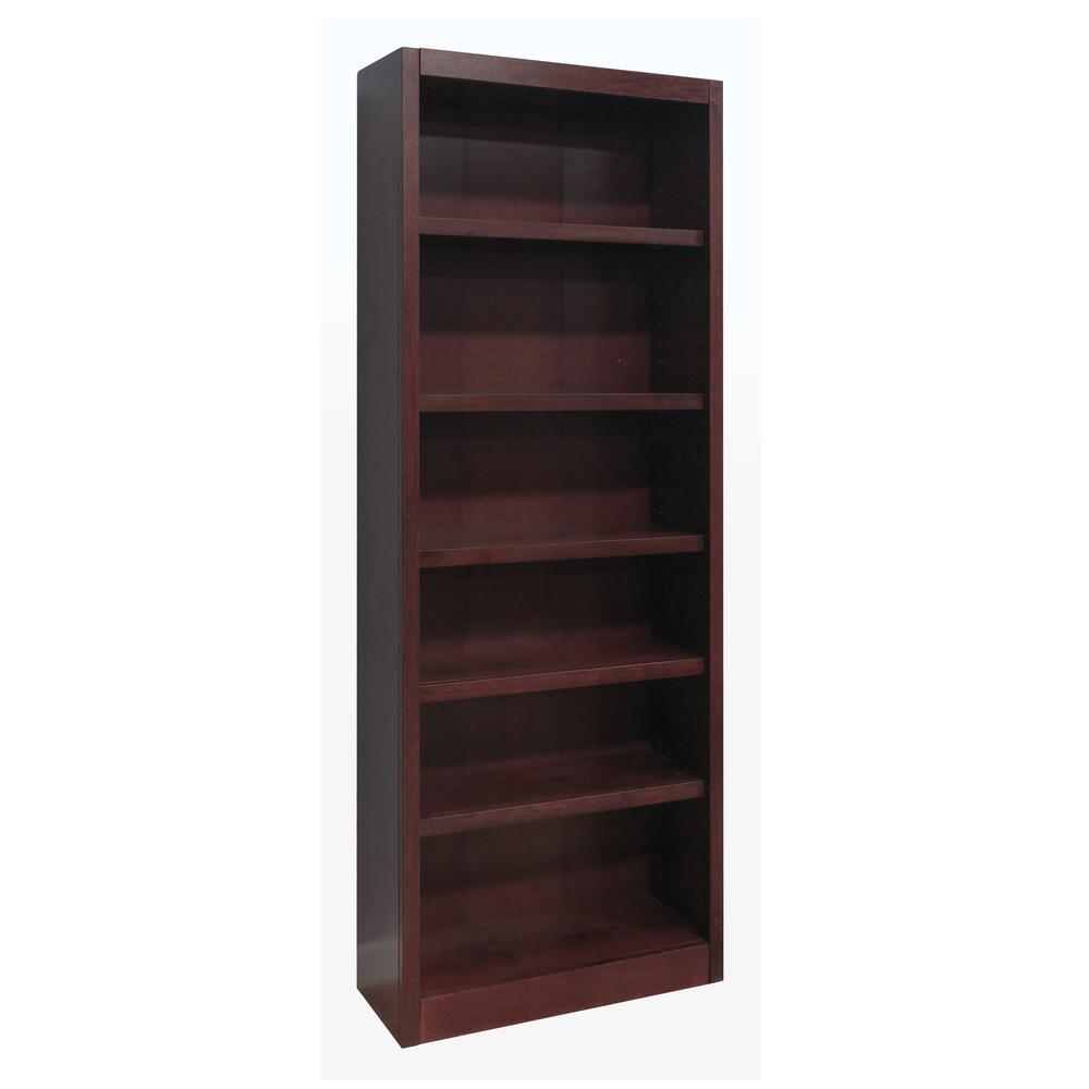 ConceptsInWood Concepts In Wood Midas Wood Bookcase, 6 Shelves, 84 in. H, Cherry Finish, Red