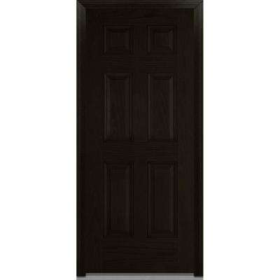 32 in. x 80 in. Severe Weather Left-Hand Outswing 6-Panel Stained Fiberglass Oak Prehung Front Door