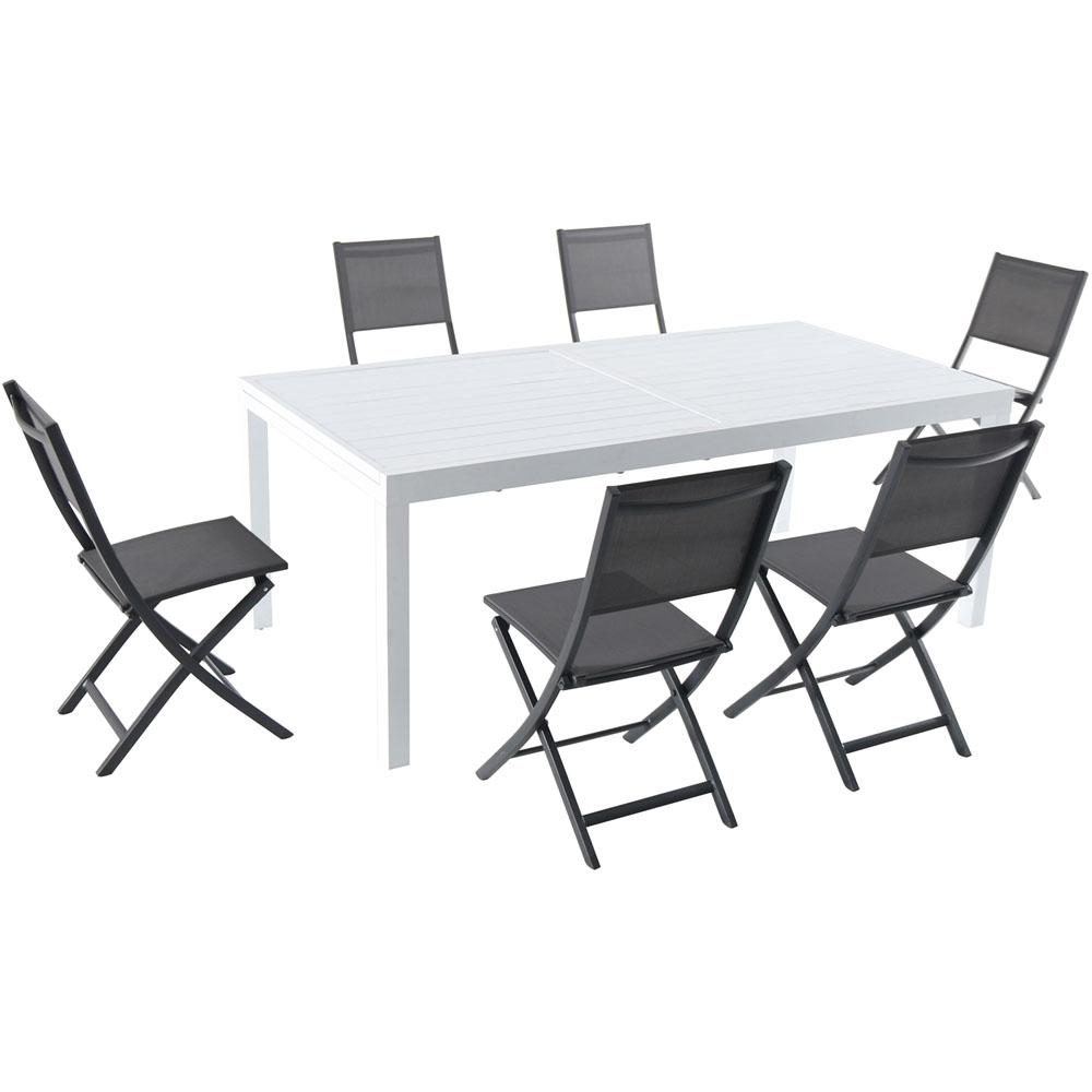hanover del mar 7 piece aluminum outdoor dining set with 6 folding chairs in gray and a white. Black Bedroom Furniture Sets. Home Design Ideas