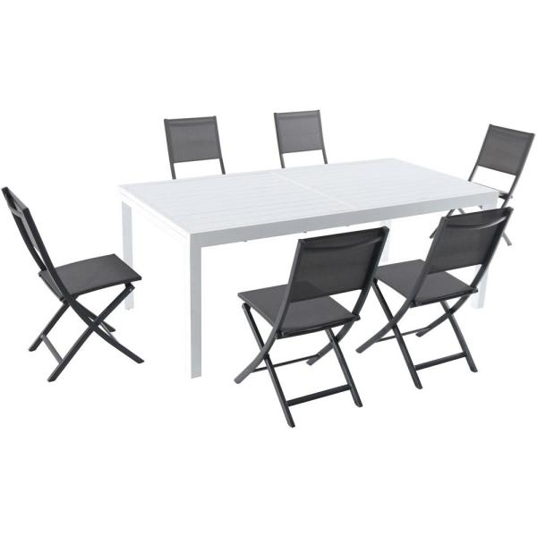 Del Mar 7-Piece Aluminum Outdoor Dining Set with 6-Folding Chairs in Gray and a White Expandable Dining Table