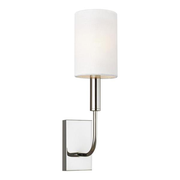 ED Ellen DeGeneres Crafted by Generation Lighting Brianna 4 in. W 1-Light Polished Nickel Sconce with White Linen Shade