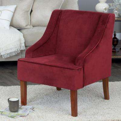 Swoop Arm Velvet Accent Chair Berry