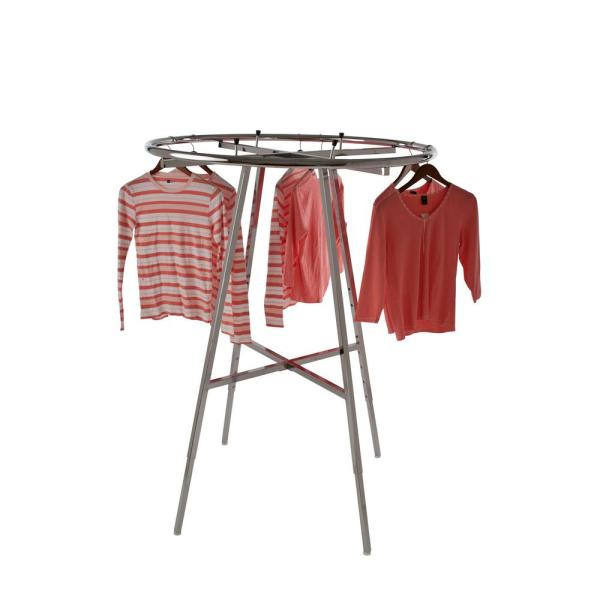 Econoco Chrome Steel Adjustable Folding Clothes Rack 42 In W X 66 In H K57wd The Home Depot