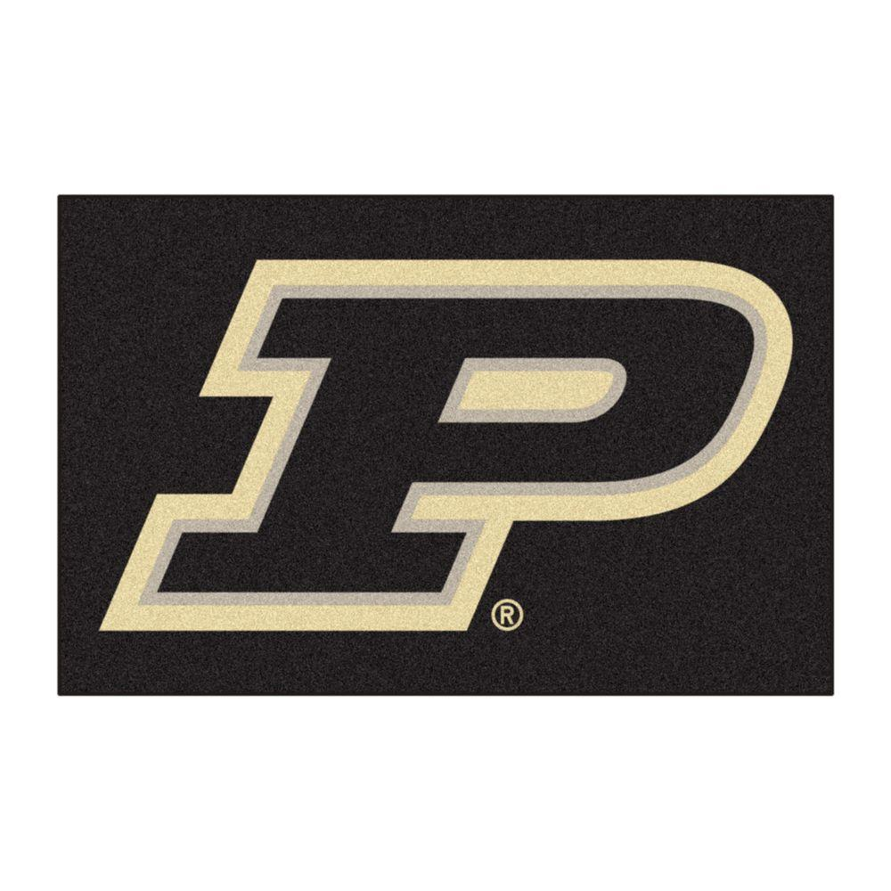 71ac515bc6 FANMATS NCAA Purdue University P Logo Black 2 ft. x 3 ft. Area Rug ...
