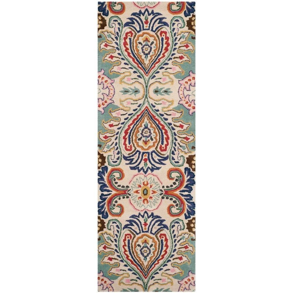Bella Ivory/Blue 2 ft. 3 in. x 7 ft. Runner