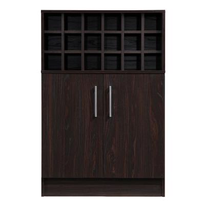 Roula 18-Bottle Walnut Brown Wine and Bar Cabinet