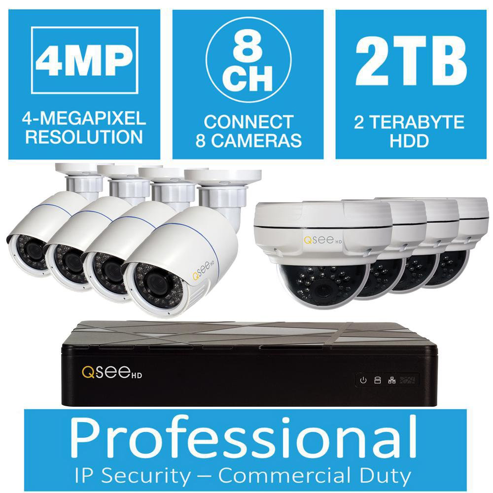 Q-SEE 8-Channel 4MP IP Indoor/Outdoor Surveillance 2TB NVR System ...