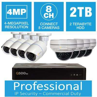 8-Channel 4MP IP Indoor/Outdoor Surveillance 2TB NVR System with (4) 4MP Dome Cameras and (4) 4MP Bullet Cameras