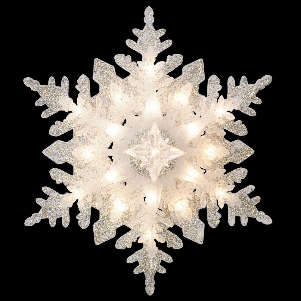 ge holiday classics silver glittered snowflake tree topper - Snowflake Christmas Decorations