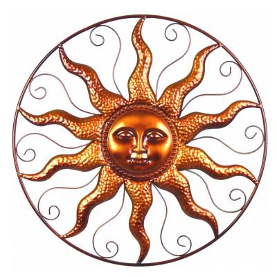 25 in. Steel Bronze Sun Decorative Wall Art
