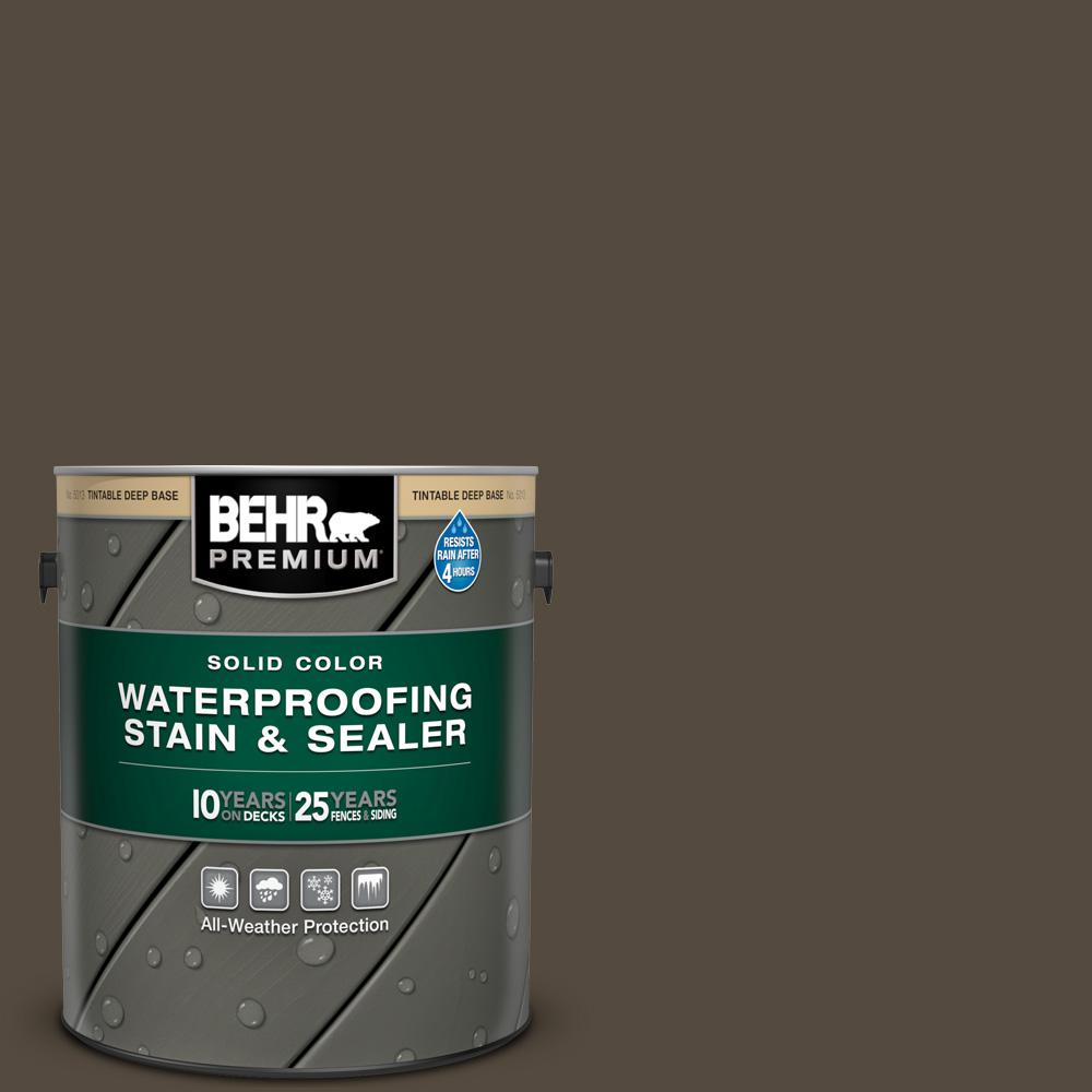 BEHR Premium 1 gal. #SC-103 Coffee Solid Color Waterproofing Exterior Wood Stain and Sealer