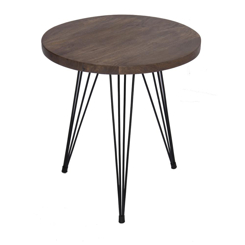 Brown end table wire style iron legs at the bottom upt for Table th bottom