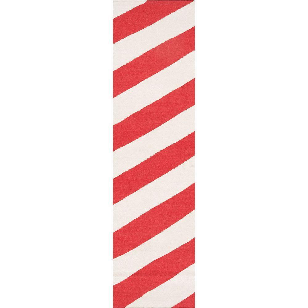 Fijo Orange-Red 3 ft. x 8 ft. Flatweave Runner Rug