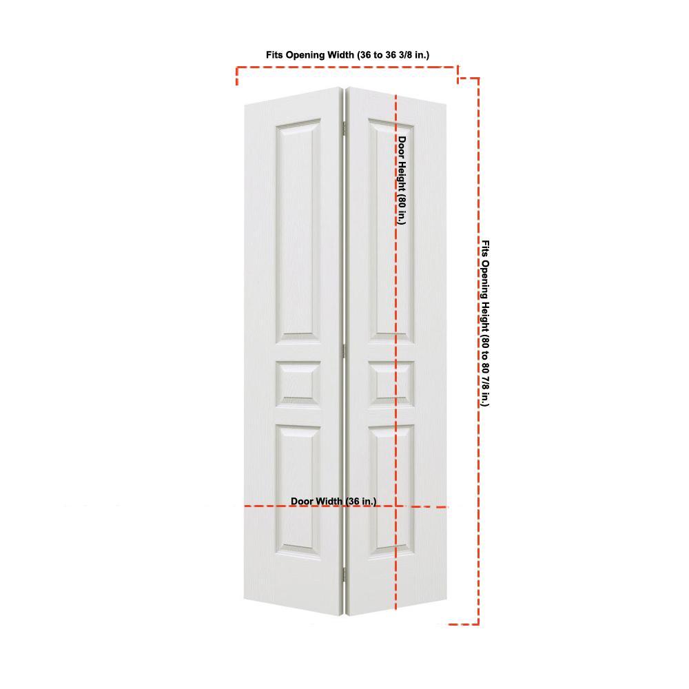 36 in. x 80 in. Avalon Primed Textured Hollow Core Molded Composite MDF Closet Bi-Fold Door