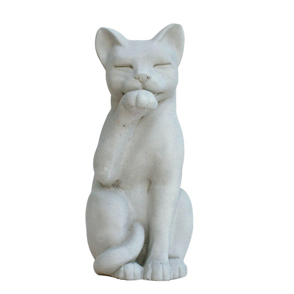 Charmant Cast Stone Contented Cat Garden Statue   Antique Gray