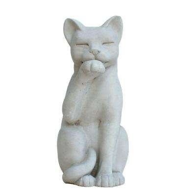 Cast Stone Contented Cat Garden Statue - Antique Gray