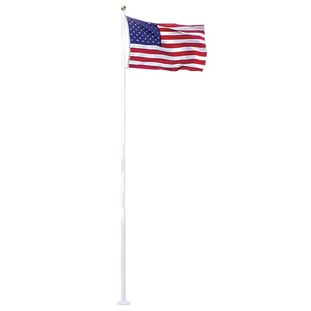 Annin Flagmakers 20 Ft White Fiberglass Flagpole With 4 Ft X 6 Ft U S Flag 3952 The Home Depot