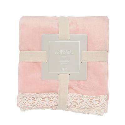 Dusty Pink Lace Trim Throw