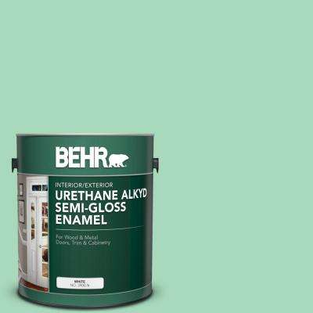 1 gal. #P410-3 Shanghai Jade Urethane Alkyd Semi-Gloss Enamel Interior/Exterior Paint