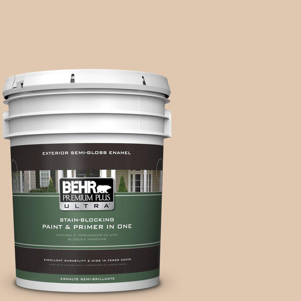 BEHR Premium Plus Ultra 5-gal. #N260-2 Almond Latte Semi-Gloss Enamel Exterior Paint