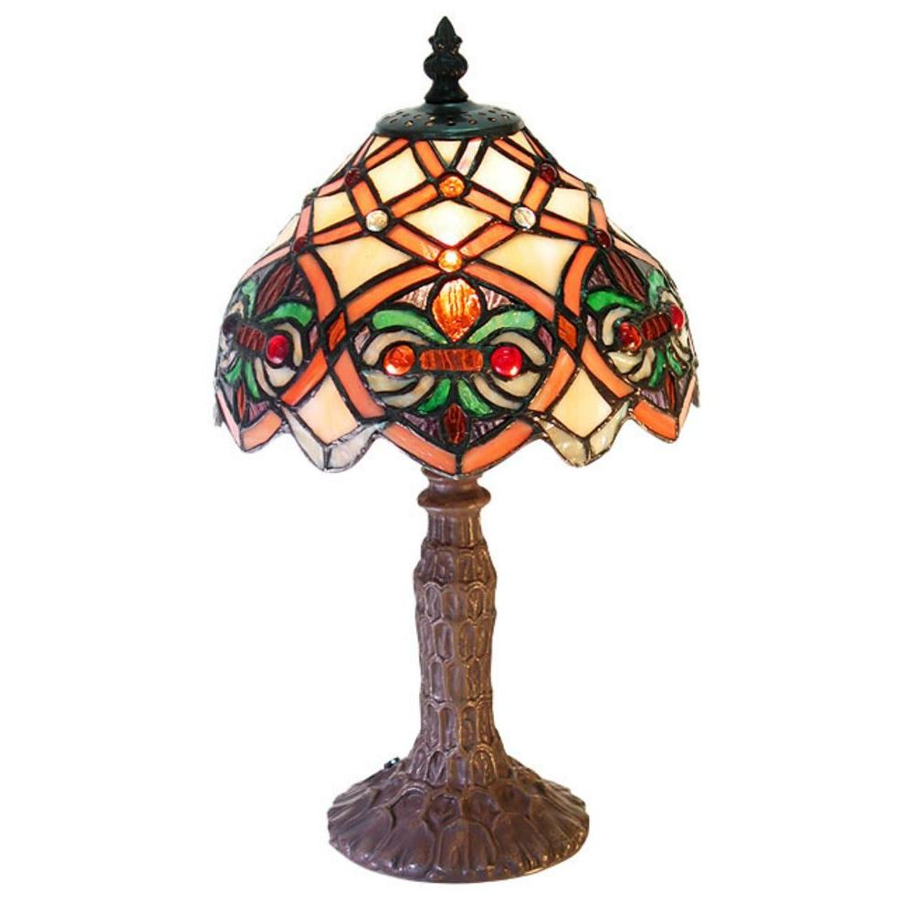 Warehouse of Tiffany 13 in. Small Arielle Multicolored Accent Brown Table Lamp