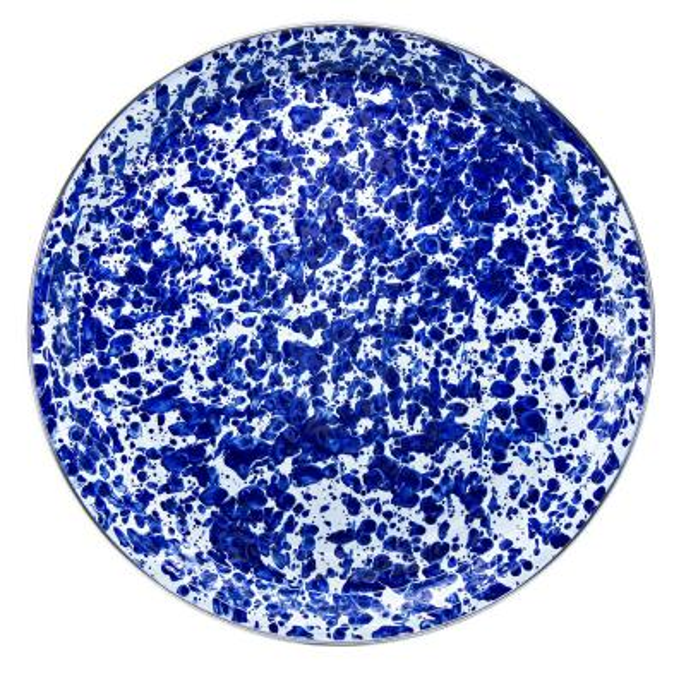 20 in. Cobalt Swirl Enamelware Round Serving Tray
