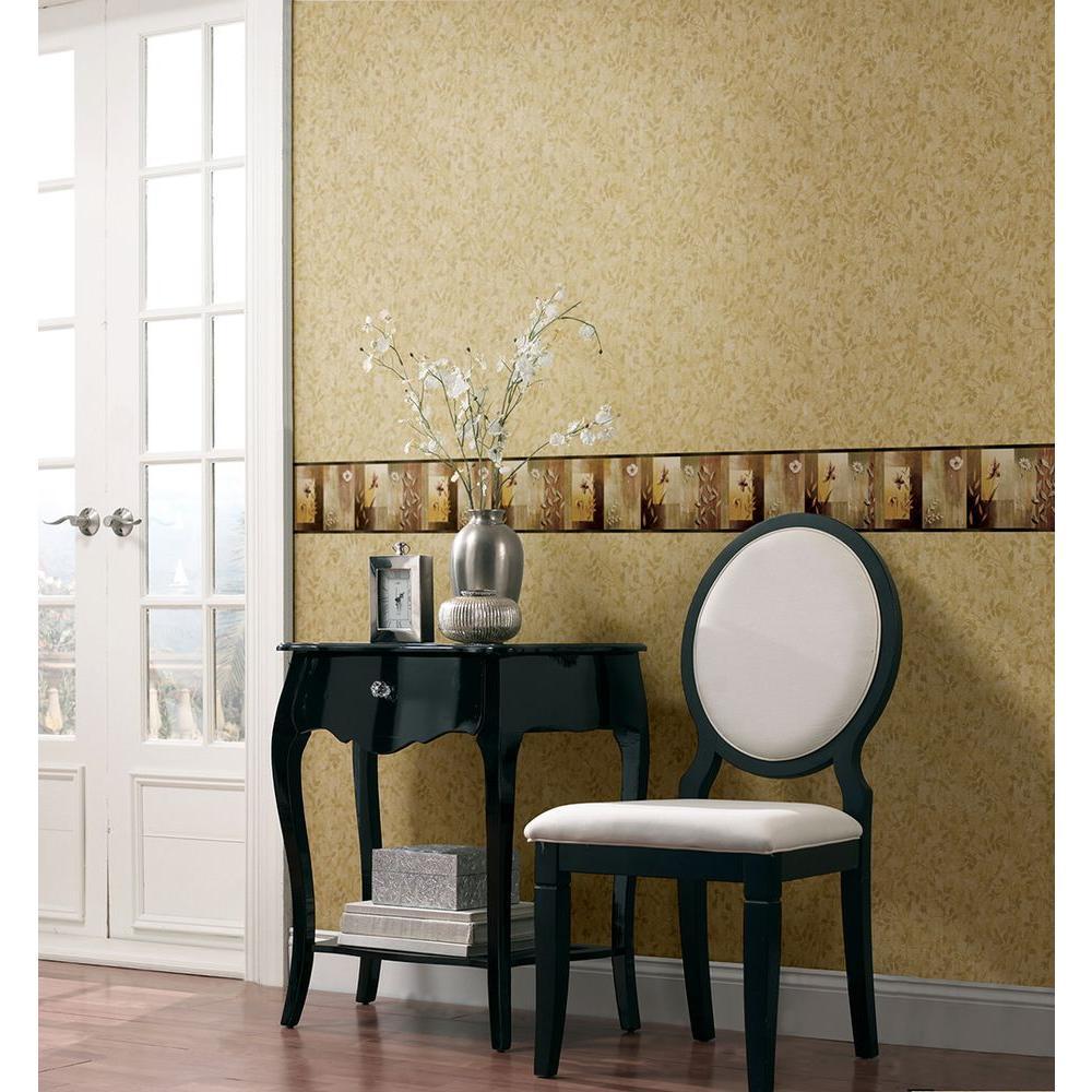 Bonnard Olive Colorblock Floral Wallpaper Border Sample