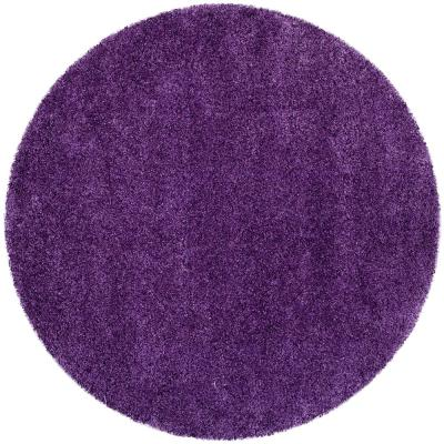 Milan Shag Purple 3 ft. x 3 ft. Round Area Rug