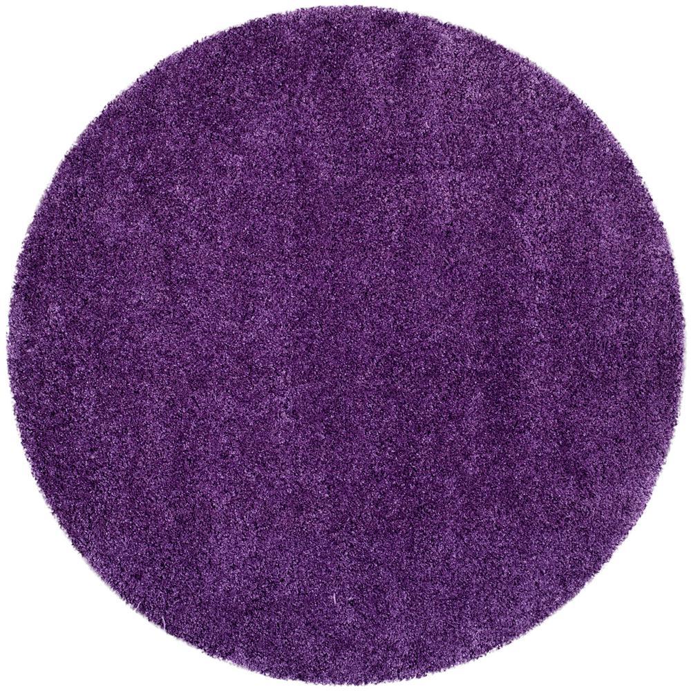 Milan Shag Purple 3 ft. x 3 ft. Round Area Rug