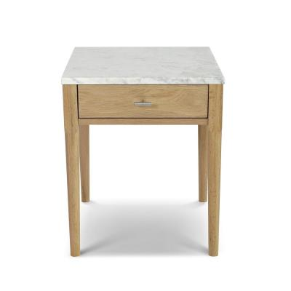 Alto 22 in. Carrara White Square Italian Marble Side Table with Oak Legs