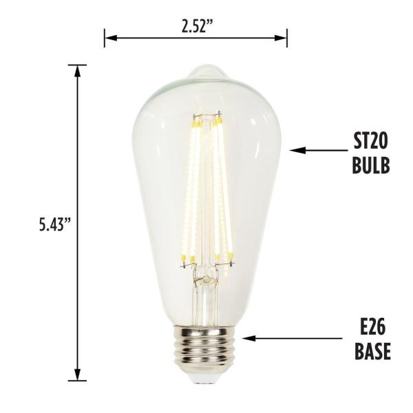 Westinghouse 60 Watt Equivalent St20 Dimmable Clear Edison Filament Led Light Bulb Soft White Light 6 Pack 4518320 The Home Depot