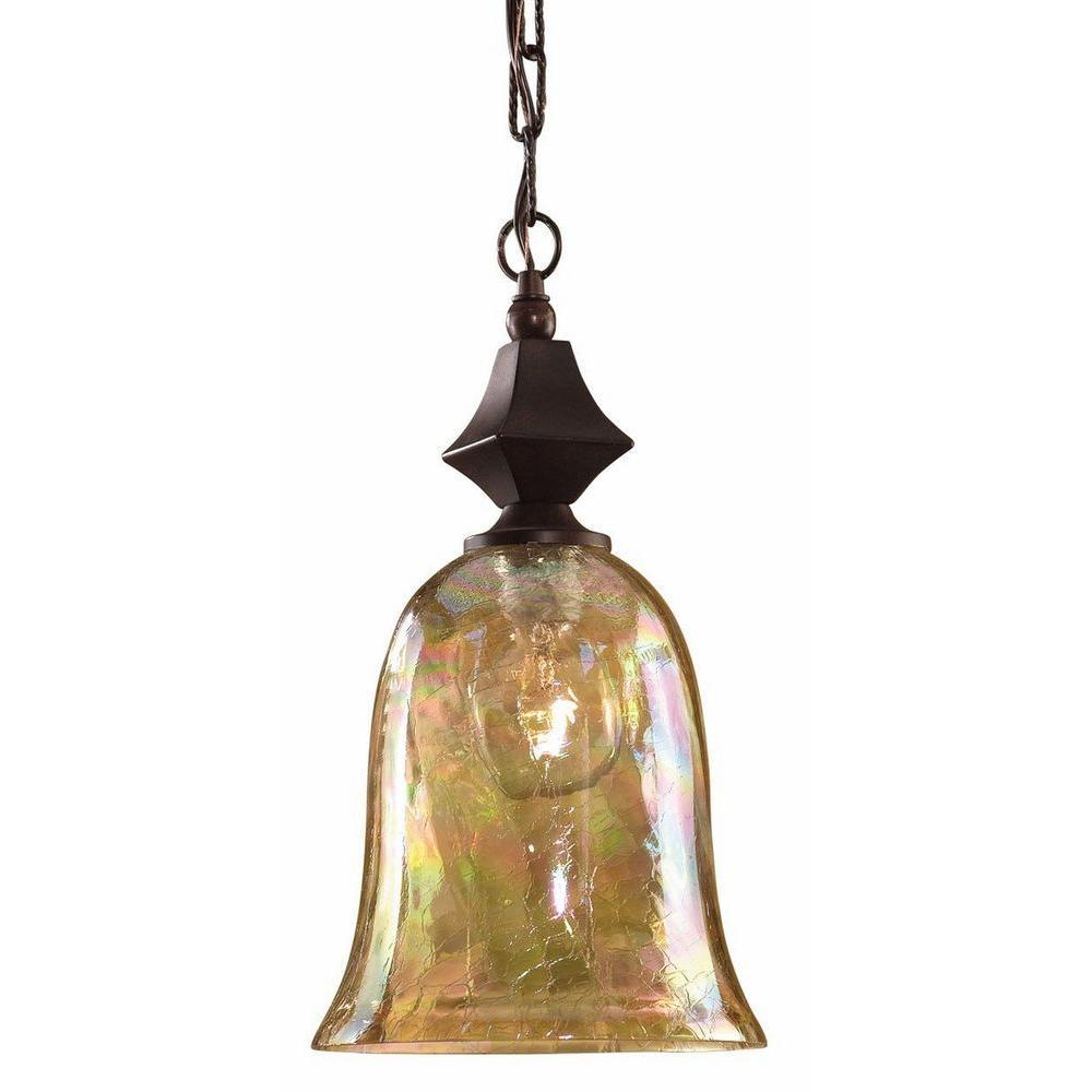 Global Direct 1-Light Bronze/Crackle Glass Mini Pendant