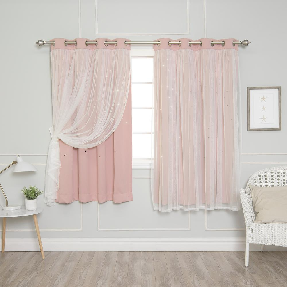 best home fashion 63 in l dusty pink tulle overlay star. Black Bedroom Furniture Sets. Home Design Ideas