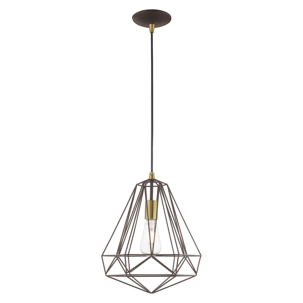 1-Light Bronze Geometric Mini Pendant
