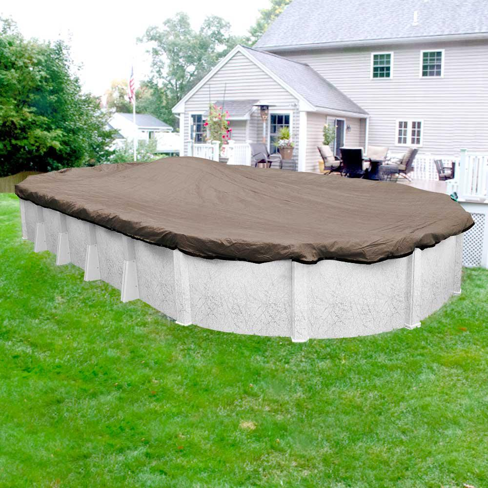 Robelle Premium Mesh XL 15 ft. x 21 ft. Oval Taupe and Black Mesh Above Ground Winter Pool Cover