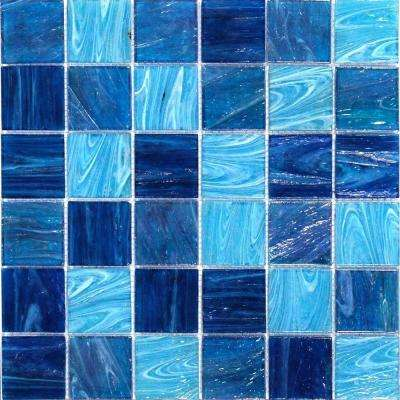 Aqua Blue Ocean Mesh-Mounted Squares Glass Floor and Wall Tile - 3 in. x 6 in. Tile Sample