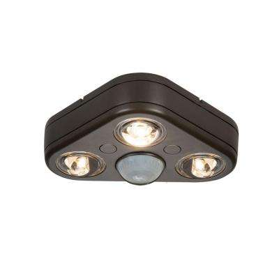 Revolve 270-Degree Bronze Triple Head Motion Activated Outdoor Integrated LED Security Flood Light at 3500K Bright White