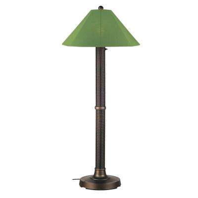 Bahama Weave 60 in. Dark Mahogany Floor Lamp with Palm Shade