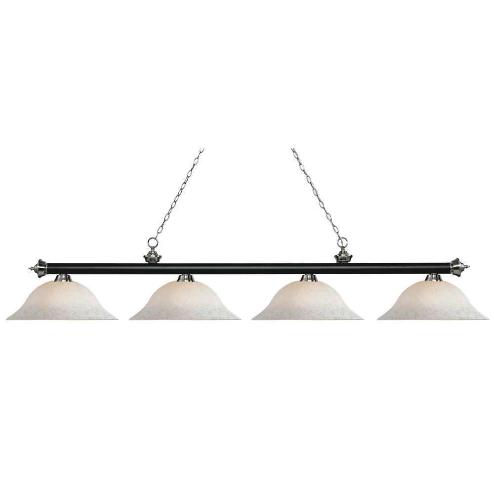 Porter 4-Light Matte Black and Brushed Nickel Billiard Light with White Mottle Glass Shade