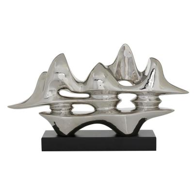 LITTON LANE Silver Ceramic Abstract Sculpture, 25.25 in. L x 14.5 in. H