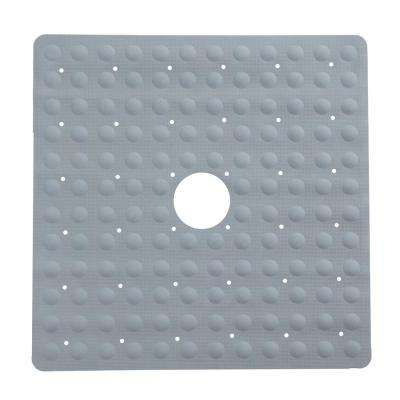 21 in. x 21 in. Square Rubber Safety Shower Mat with Microban in Gray