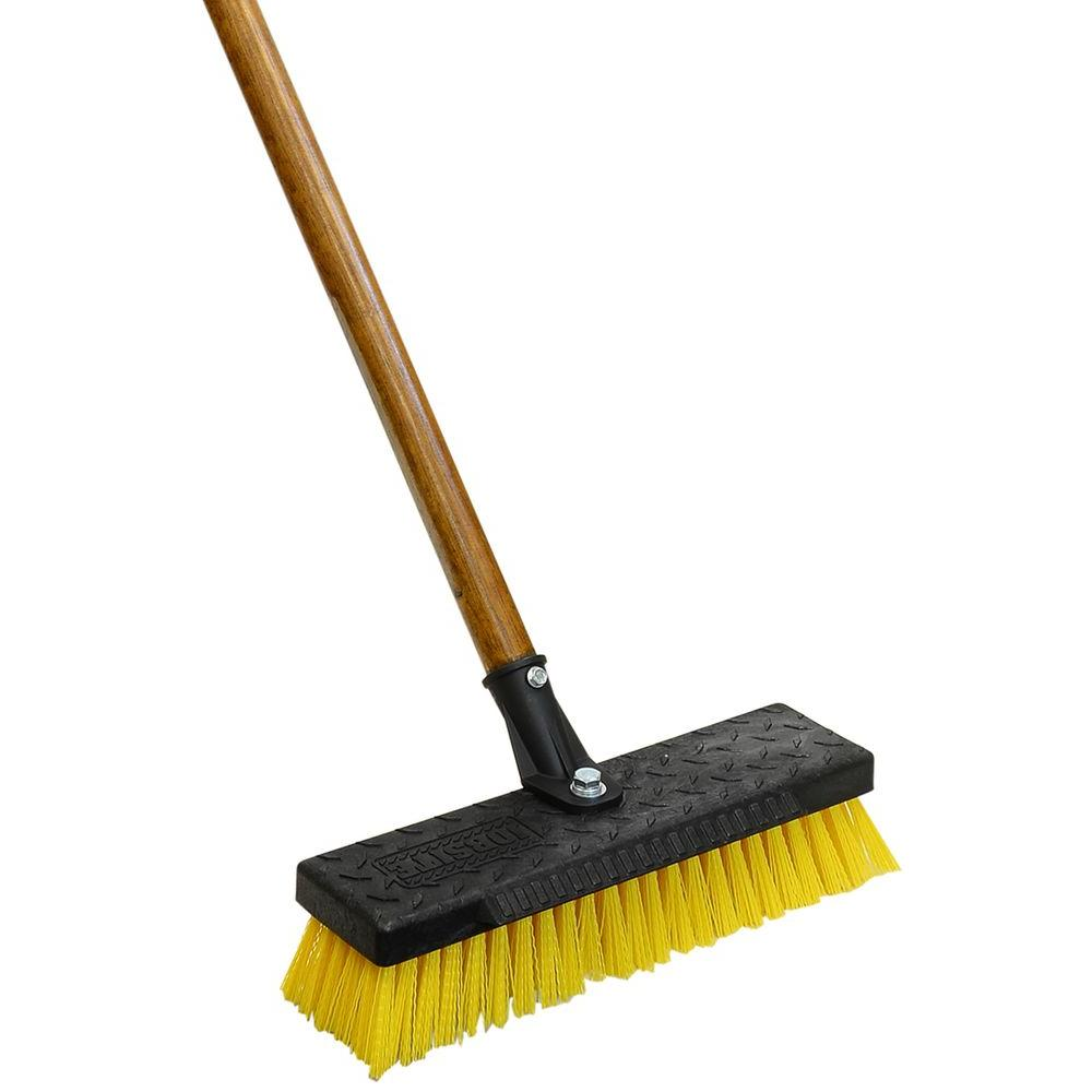 Quickie professional 12 in wide heavy duty deck brush 266 for Best product to clean garage floor