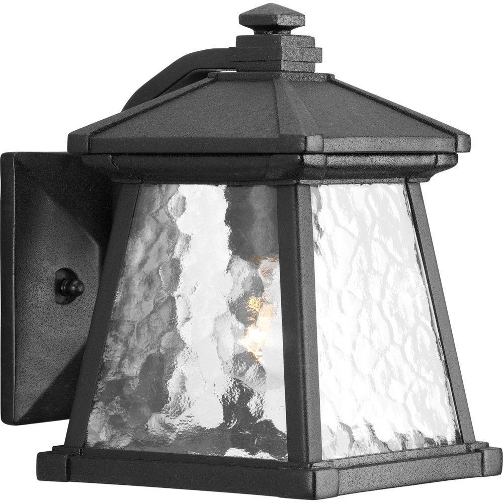 Progress Lighting Mac Collection Black 1-Light 8.5 in. Outdoor Wall Lantern Sconce