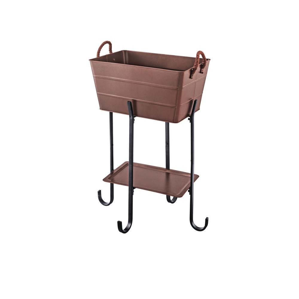 Hampton Bay Copper Metal Beverage Tub With Stand And Tray