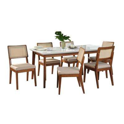 Lillian 62.99 in. and Pell 7-Piece White Gloss and Dark Beige and Maple Cream Dining Set
