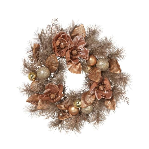 24 In Frosted Pvc Wreath With Magnolia Champagne And Rose Gold Ornaments And Berries 2552360ec The Home Depot