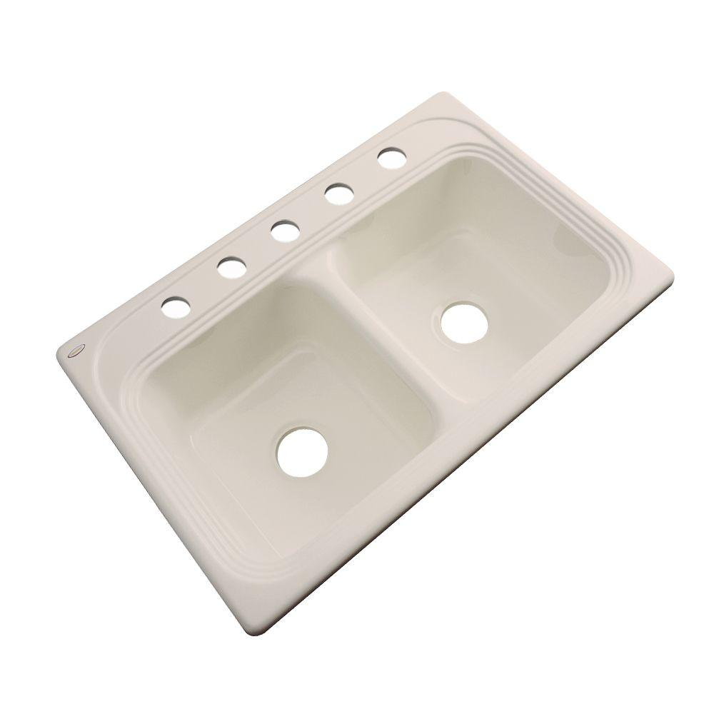 Thermocast Chesapeake Drop-In Acrylic 33 in. 5-Hole Double Bowl Kitchen Sink in Candle Lyte