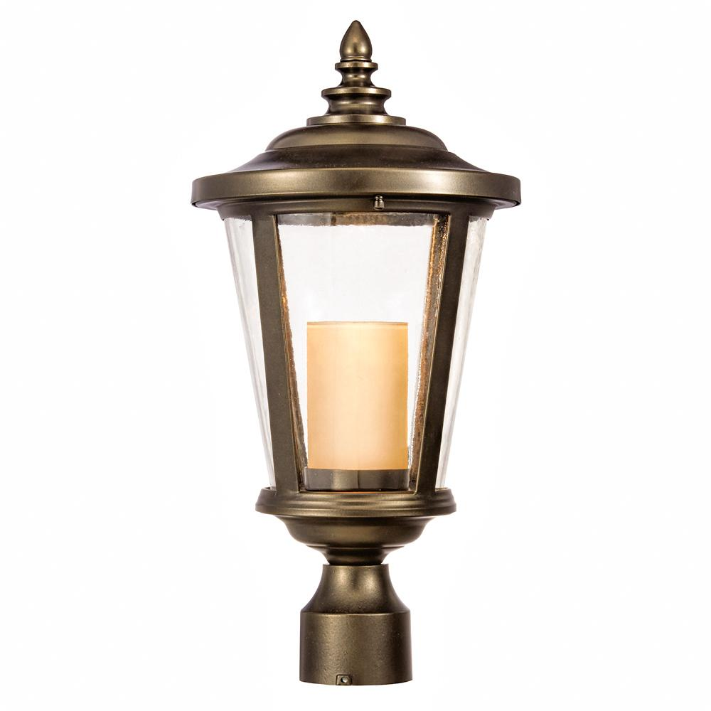 Home Decorators Collection Bellingham Oil Rubbed Bronze Outdoor Led Medium Post Mount With Clear